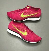 NEW 2016 Nike Flyknit Racer Fireberry Pink Volt Running Size 12 (526628-607)