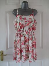 FOREVER 21 Stunning Cream&Pink Floral Strappy Tunic Top/Dress Sz M