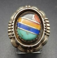 Vintage NAVAJO Sterling Silver TURQUOISE CORAL LAPIS Channel Inlay RING, size 9