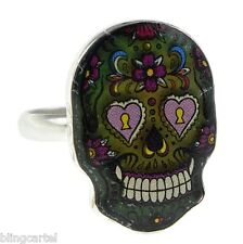 Sugar Skull Mood Ring Dia De Los Muerto Pink Heart Eyes Day Of The Dead Jewelry