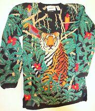 Vtg 90s Women M Hand Knit Signature Northern Isle Long Tunic Sweater TIGER
