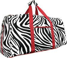 "22"" Women's Zebra Print Gym Dance Cheer Travel Carry On Duffel Bag - Red"