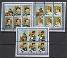 1981 Royal Wedding Charles & Diana MNH Stamp Sheetlets Niue SG 430-432