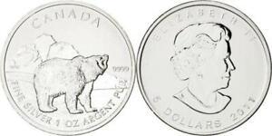 "Canada 5 Dollar 2011 ""Grizzly"" 1OZ. 31,1g 999er Feinsilver, in Kapsel, UNC.-"