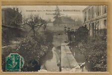 Cpa inondations 1910 Neuilly sur Seine boulevard Bineau horticulture Hardy rp253