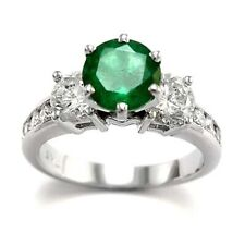 Colombian Emerald and Diamond Engagement Ring in Platinum 950  #R1537