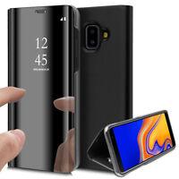 Clear View Housse Etui Flip Folio Effet Mirroir Samsung Galaxy J6+/ J6 Plus 2018
