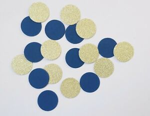 Handmade Circle Table confetti - Navy and gold