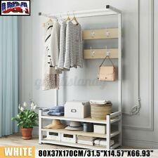 Steel Hat Coat Rack Bag Clothes Stand Shoe Wood Shelf Garment Hanger Hooks Rack