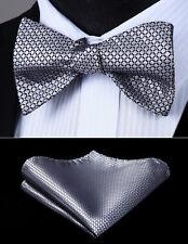 Men Woven Silver Check&Plaid Self Bow Tie Pocket Square Silk Set#BC614AS