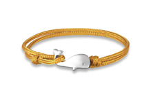 Silver Whale Cord Rope Bracelet Nautical Yellow Cord. Mens Paracord