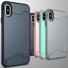 For iPhone X 6s/7/8 Plus Hybrid With Card Holder Slot Kickstand Slim Cover Case