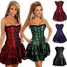 Womens Burlesque  Fancy Dress Corset+Skirt Tutu Costume Bustier New