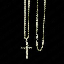 Real 10K Yellow Gold INRI Jesus Crucifix Cross Charm Pendant + 2mm Rope Chain