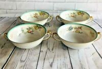 Set of 4 NSP China made in Japan Hand Painted Cream Soups Bowls / Double Handled