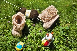 Hand Knitted Ugg Unisex Baby Booties Boots