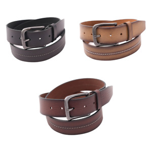Men's Genuine Leather Casual Belts 100% Buffalo Leather 40 mm Curved Buckle Belt