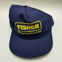 Fisher Desuperheaters Hat Cap Blue Adult Used Snapback K Vtg Made in Usa B6