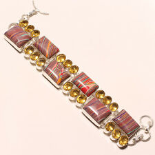 RED CALSILICA, YELLOW CITRINE 925 STERLING SILVER BRACELET 7-8""