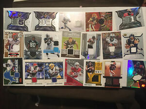 Lot of 75 Football Game Used Autograph NRMT Cards Topps Bowman Upper Deck Fleer