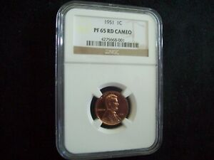 """Spectacular!, 1951 Proof Lincoln Cent, Certified, """"Proof 65 Red Cameo"""", By NGC!"""