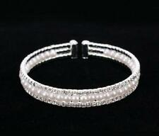 Bridal 3 Line Silver W. Clear Rhinestone & White Pearl Flexible Bracelet Cuff