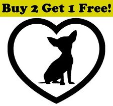 Chihuahua Heart Vinyl Decal Sticker Bumper Window Wall Dog Puppy Love