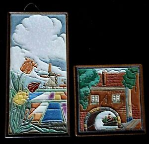 PAIR Dutch Delft Tiles w Cloisonne Style Scenes of Holland Tulips Windmill Canal