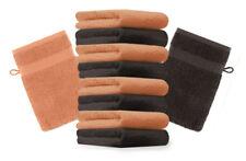10er Pack Waschhandschuhe Premium Farbe: Orange & Dunkelbraun, Größe: 17x21 cm