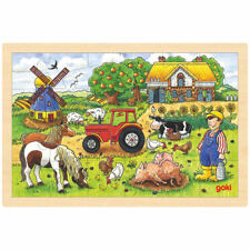 goki Einlegepuzzle Müllers Farm 57891 - Holzspielzeug Puzzle 24 Teile