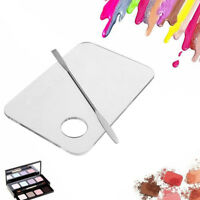 Acrylic Makeup Nail Eye Shadow Mixing Palette + Stainless Spatula Tool Set