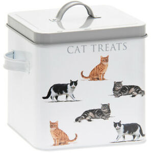 Cats Feed Treats Metal Tin Box Food Storage Container with Lid and Handles New