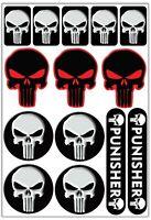 14 PVC Aufkleber Punisher Schädel Satz Auto Moto GP Motorrad Vinyl Stickers Set