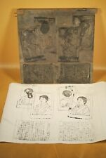 Antique Meiji Era Japanese Hand Carved Hangi Woodblock / 4 Pages & Illustrations