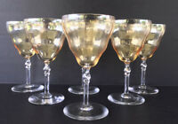 Vintage Bryce Crystal Wine Glasses Twist Stem Iridescent Topaz Optic Set Of 6