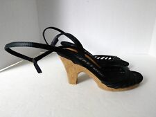 Rocket Dog Womens US 7.5 M Black Strappy Ankle Wrap Cork Heel Man Made Sandals