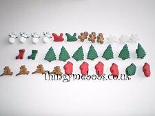 30 Natale in miniatura a tema Craft Pulsanti-creazione di biglietti/artigianato/cucito