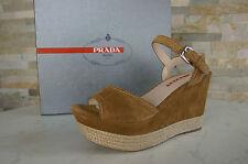 Prada Gr 38,5 Sandalias con Plataforma Zapatos Sisal Caramelo Nuevo Antiguo
