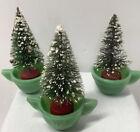 3 Vintage Bottle Brush Pine Trees In Child's Jadeite Green  Dishes Tea Cups