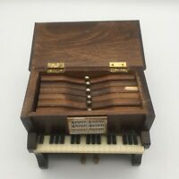 "VINTAGE MINIATURE WOODEN 5"" X 5.5""  UPRIGHT PIANO COASTERS SET W/ 6 COASTERS"