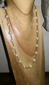 Cultured freshwater pearl necklace on rosary link gp chain
