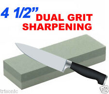 "COMBINATION DUAL GRIT 4 1/2"" STONE WHET WET STONE KNIFE SHARPENER ALUMINUM OXIDE"