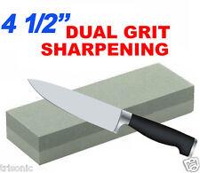 "COMBINATION DUAL GRIT 4 1/2"" STONE WHET WET STONE KNIFE SHARPENER ALUMINUM OXIDE"