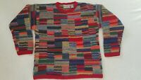 Vintage Northern Isles Hand Knitted Patchwork Stripe Multicolor Wool Sweater