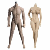 """12"""" 1/6 Suntan Male & Regular Female Body Action Figure for Phicen Hot Toys Head"""