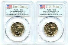 2019-D Innovation Pennsylvania Dollar 2-Coin Set, PCGS MS-66 Pos AB First Strike