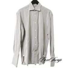 Borrelli Napoli Made in Italy Mouse Grey Wine Pinstripe French Cuff Shirt 15.5