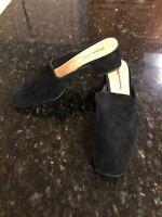 $128 Free People Silent D Supreme Block Heel Mule, Black suede, size 38/7.5, NEW
