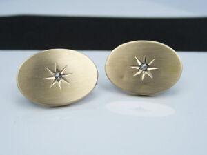 Antique Victorian Art Nouveau Deco 14K Yellow Gold & Diamond Cufflinks Buttons