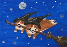 5X7 PRINT OF PAINTING RYTA HALLOWEEN FOLK PEMBROKE WELSH CORGI VINTAGE STYLE ART